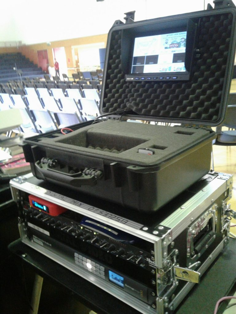 Blackmagic ATEM Switcher in road case with portable preview monitor