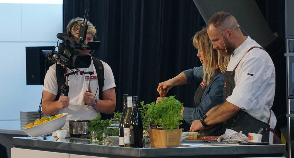 Wellington Foodshow with camera operator getting the closeup shots for IMAG