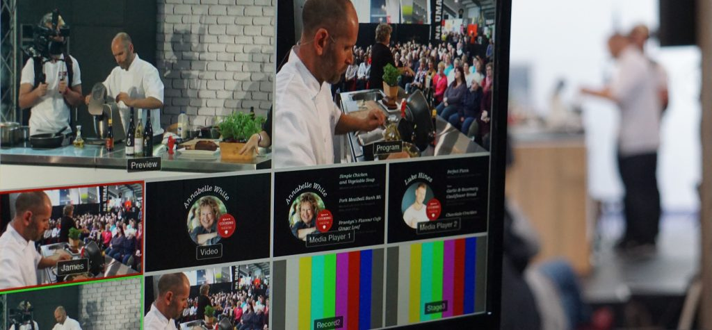 Operator monitor showing the various camera angles and content being used for the Wellington Foodshow