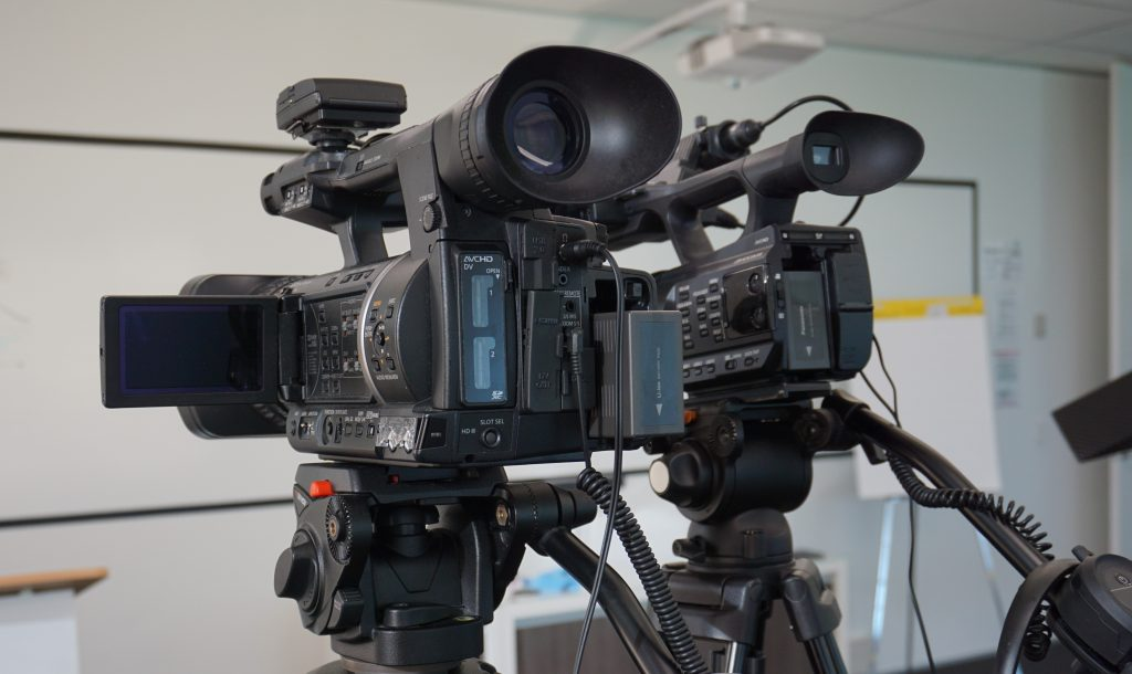 Training video production using two cameras at a training venue